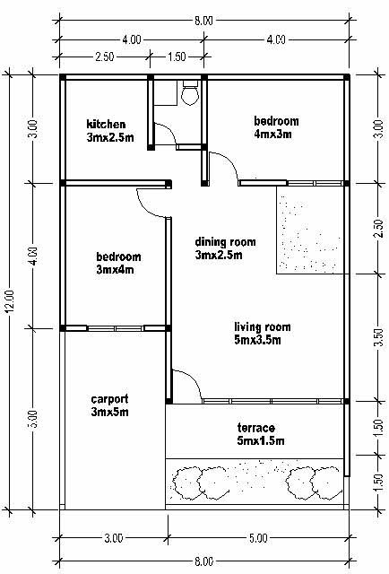 Small house plan wide 8m Small house plans