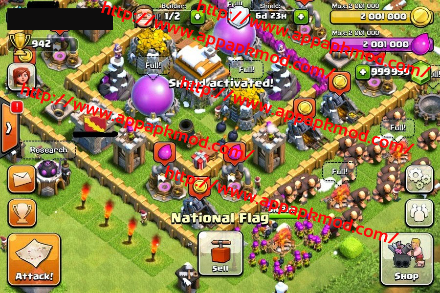 Clash Of Clans Mod V7.65.2 (999 999 Gems Only) No Root, Android & iOS ...