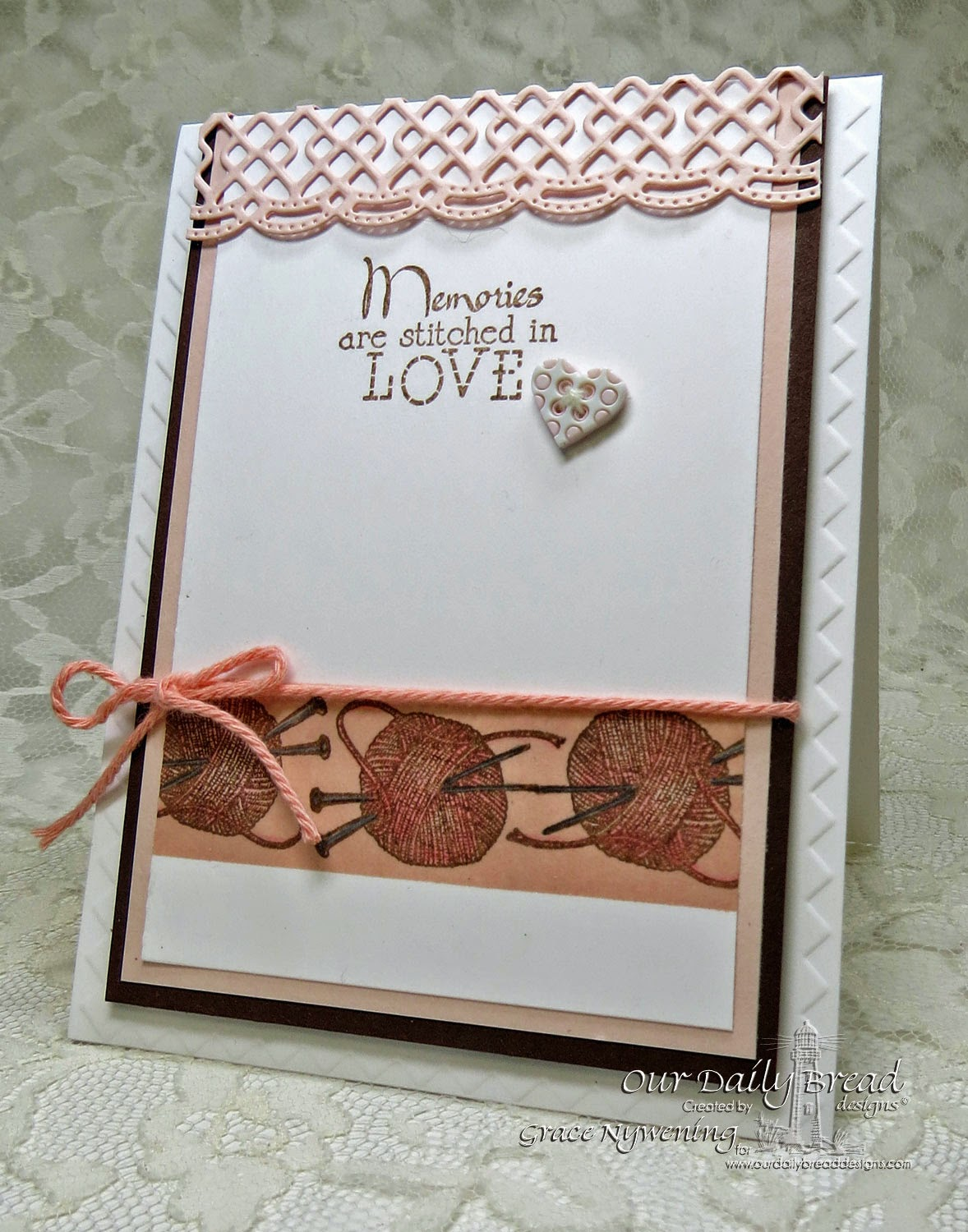 ODBD stamps: Hand Knit, Stitches, Beautiful Border Dies, designed by Grace Nywening
