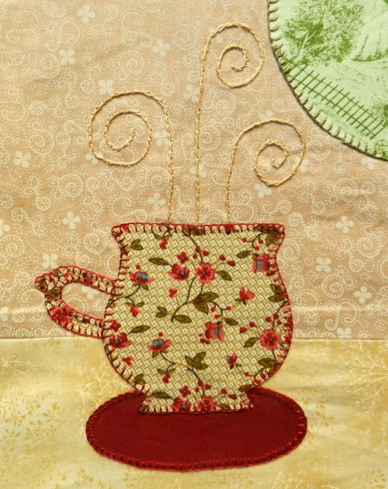 Mantel individual, hora del té, place mat, patchwork, bodegón patchwork, puzzles de tela, tetera patchwork