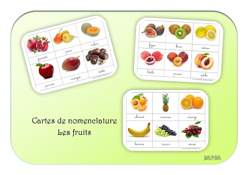 Cartes de nomenclature - Les fruits