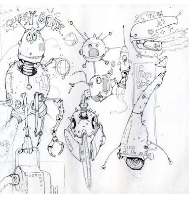 doodle of robots