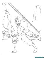 Mewarnai Gambar Avatar Aang Saat Berlatih Dipinggir Hutan