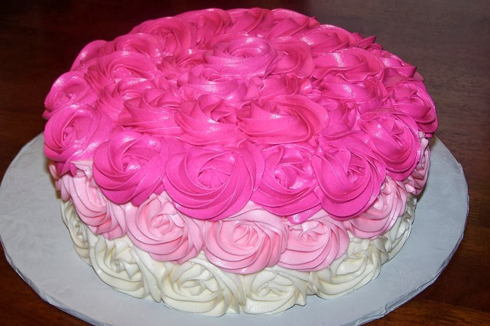 pink rosette ombre cake