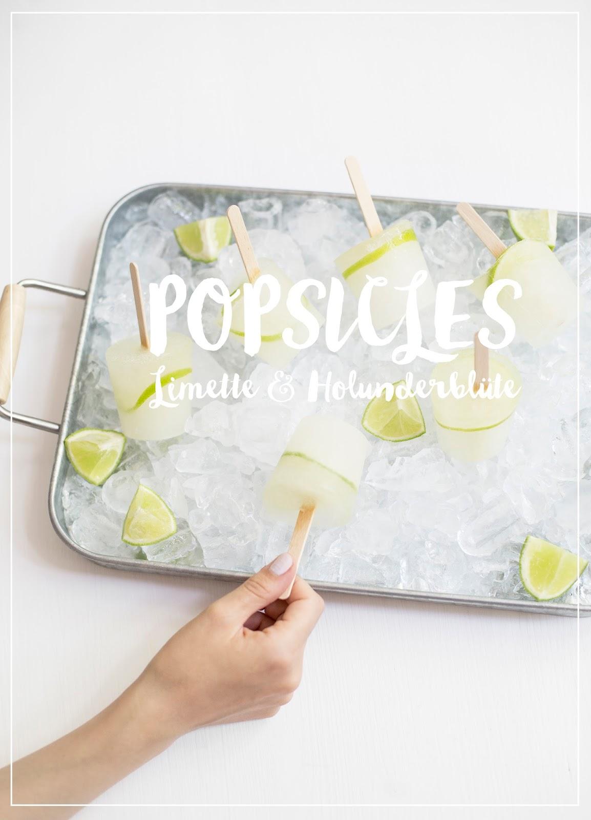 Limetten Holunderblütensirup Popsicles