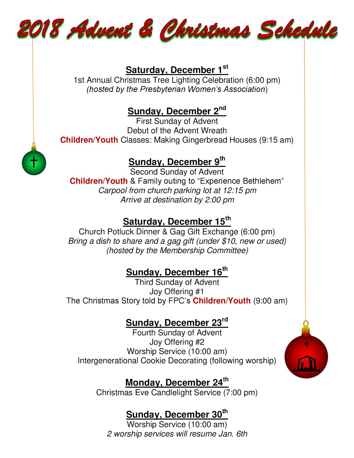 2018 Advent and Christmas Schedule