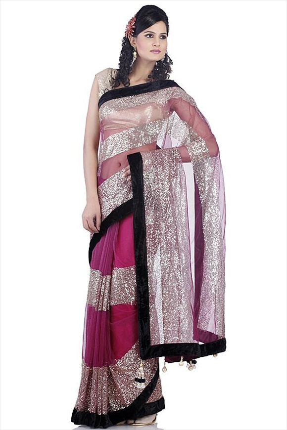 Deep Purple Net Saree