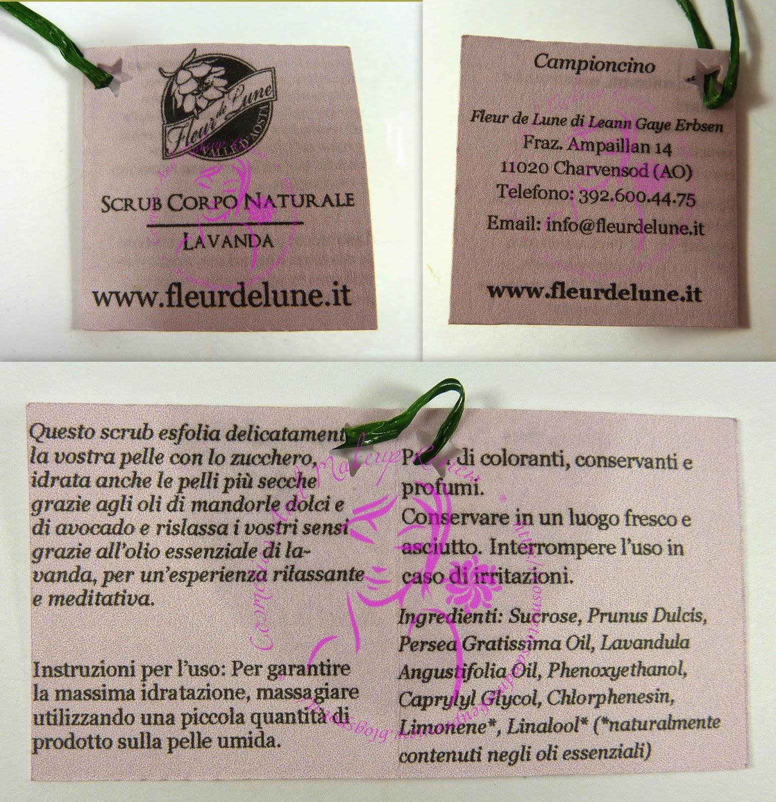 Fleur de Lune - Scrub Corpo Naturale alla Lavanda - etichetta