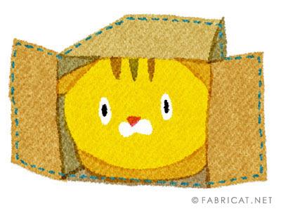 可愛い箱に入る茶トラ 猫のイラスト