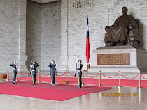 Changing of the Guard before statue of Chiang Kai-Shek, his Memorial Bldg, Taipei, Taiwan