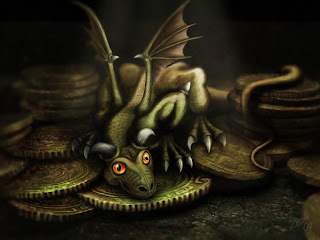Small Dragon Sitting On Coins Dark Gothic Wallpaper
