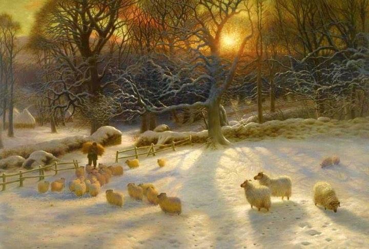 Ovečky a jejich pastýř v zimě