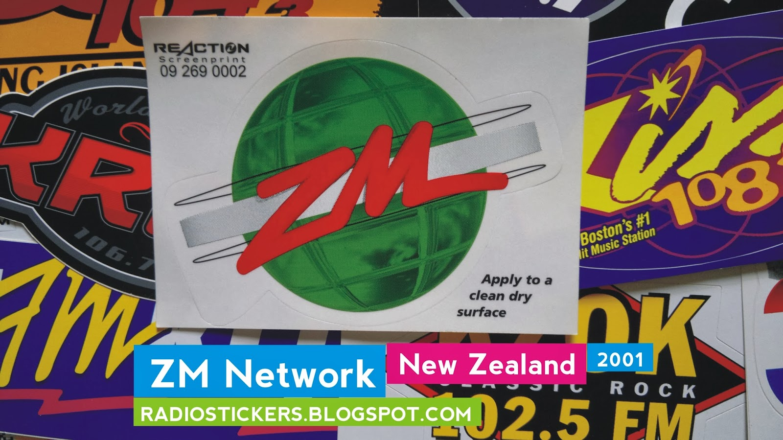 Unused Bumper Sticker From 2001 Sheet Measures Approximately 15 Cm By 11 Front Side Shaped Background Clear ZMs Previous Logo Back White