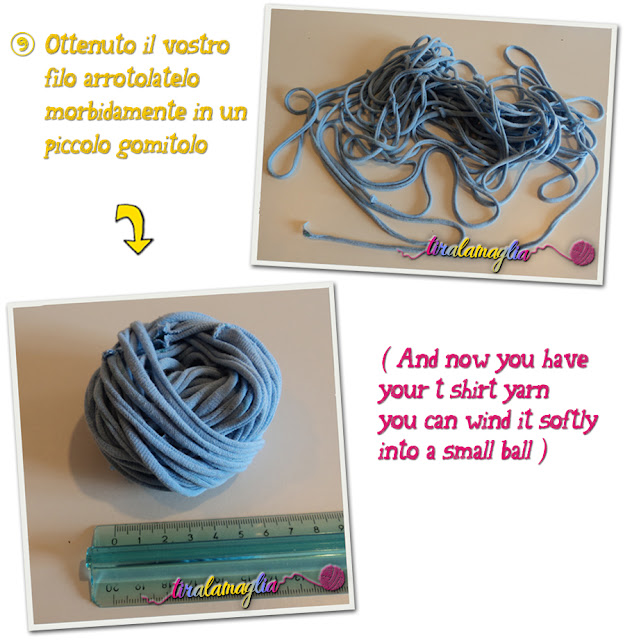 Tutorial and recycle idea: how to make a t shirt yarn (8)