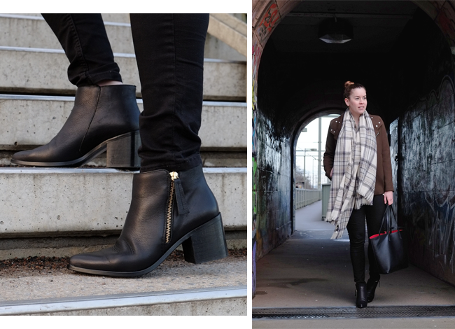 Office Leder Boots, Coven Side Zip Boot, Tartan Schal ONLY, Boutique Belgique