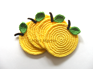 Crochet Coasters Yellow Apple