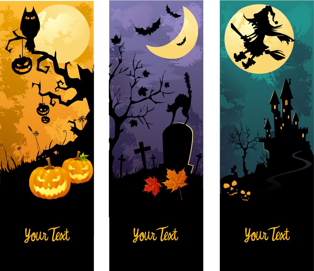ハロウィンの夜を描いた背景 halloween horror cartoon illustrators イラスト素材5