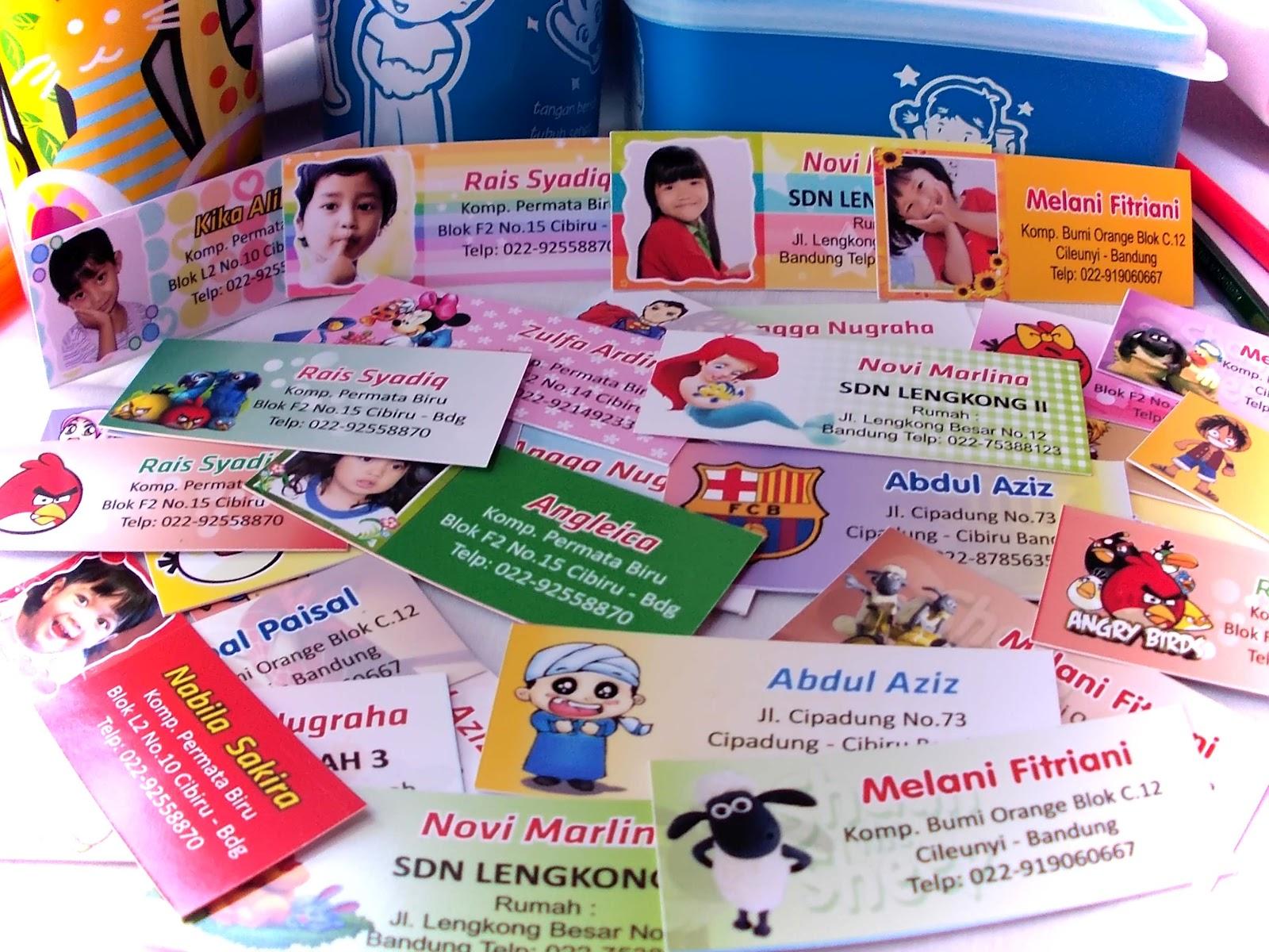 Kartu Nama Anak Label Stiker Anak