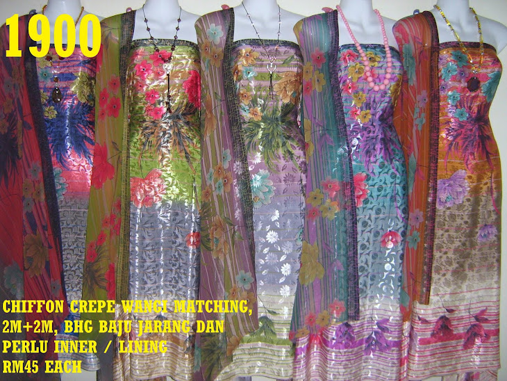 CCW 1900: CHIFFON CREPE WANGI MATCHING, 2M+2M, BHG BAJU JARANG DAN PERLU INNER / LINING