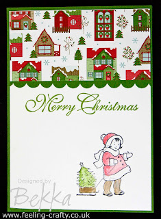 Adorable Greeting Card Kids Christmas Card by Bekka - get everything you need to make this card at www.feeling-crafty.co.uk or go to one of her fabby classes!