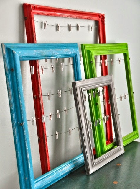11 Ways to Organize with Clothespins - Framed Picture Organizer:: OrganizingMadeFun.com