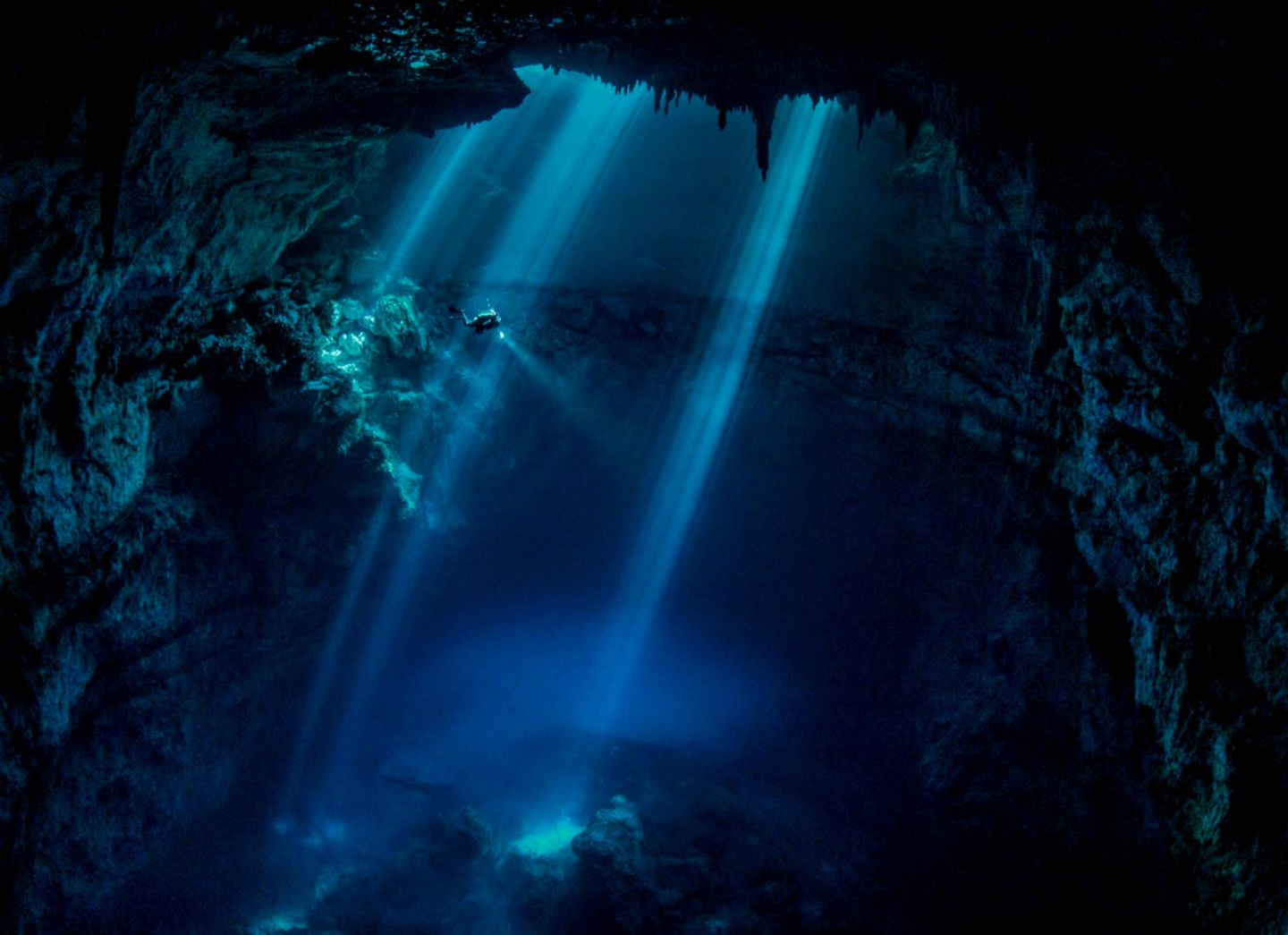 water blue landscapes nature diver Mexico underwater cenote