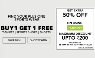 Sports Wear : Buy 1 Get 1 Free and Extra 50% off  at Jabong