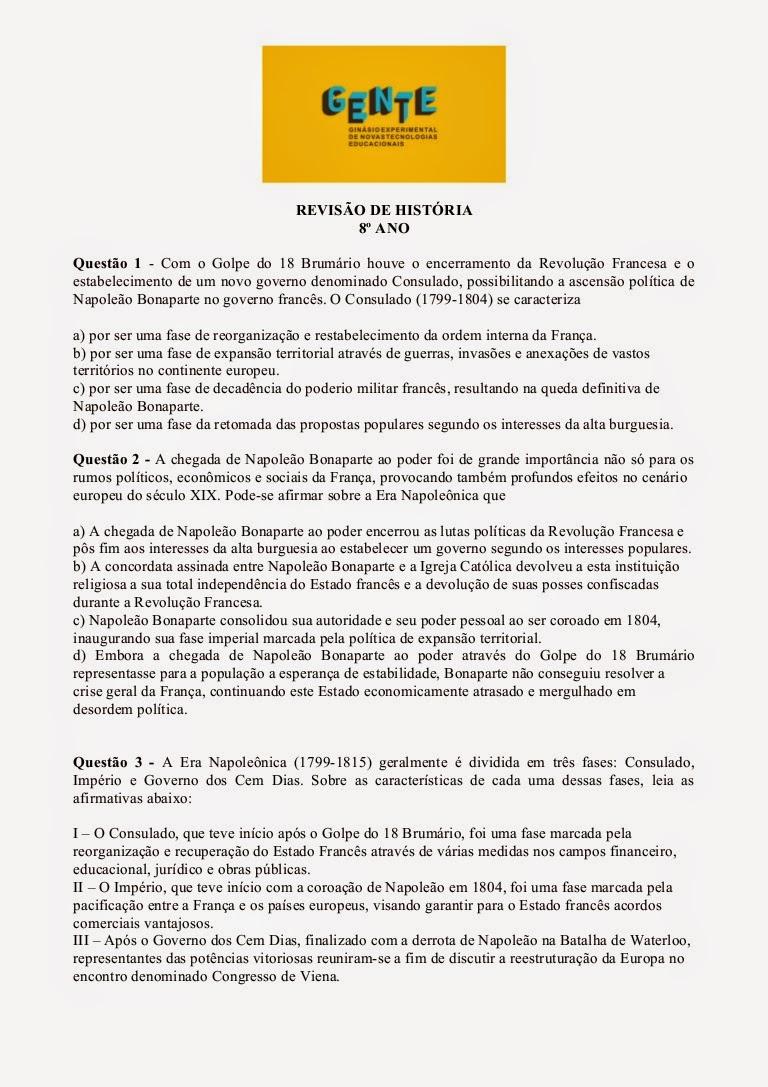 Prova de História 8 ano Revolução Francesa