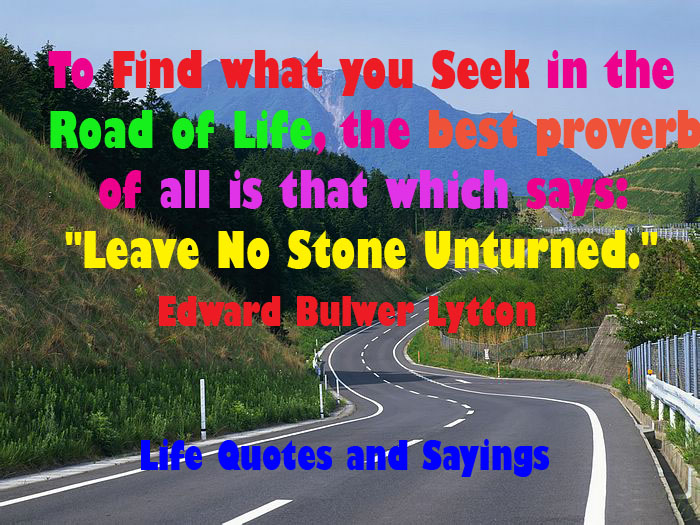 To Get What You Seek In The Road Of Life Leave No Stone Unturned