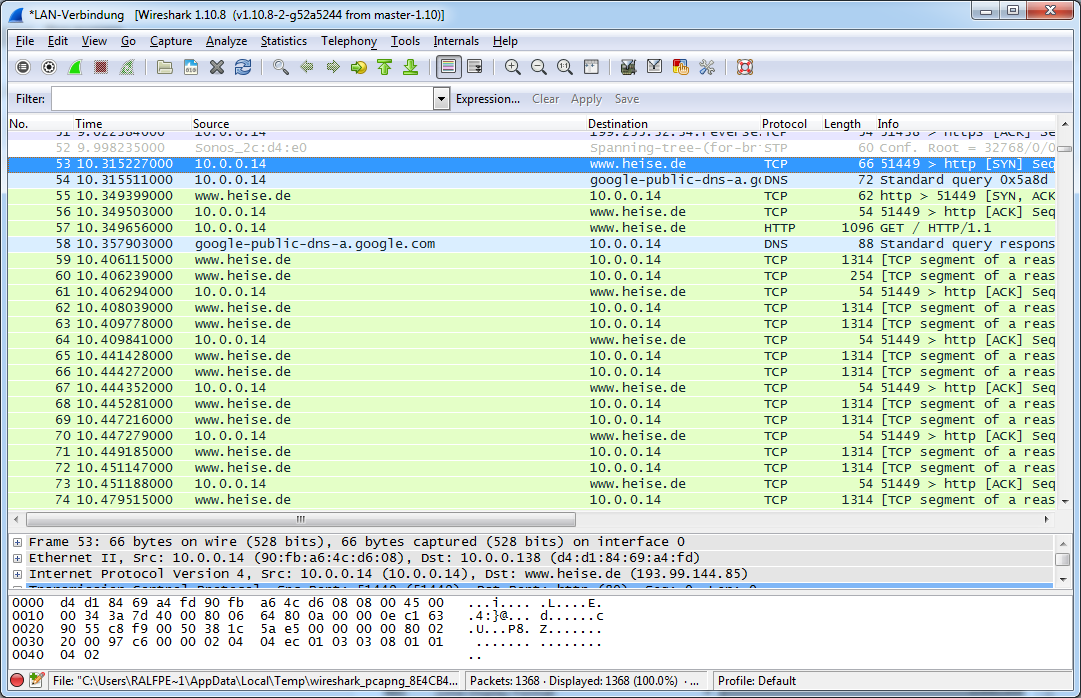 Wireshark shows now network names