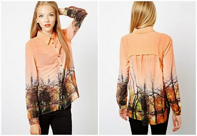 Choies Orange Shirt With Scenery Pattern