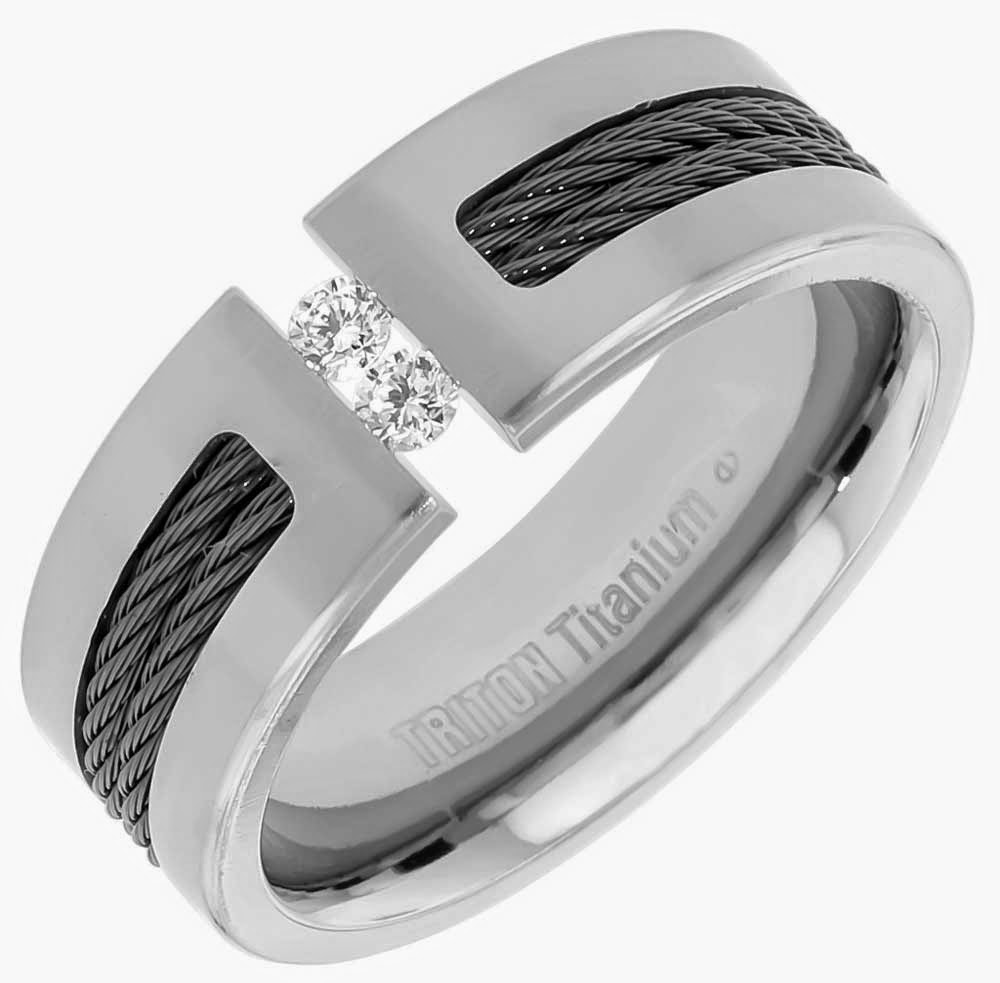 Mens 2 Diamond Wedding Rings Triton Titanium Design pictures hd