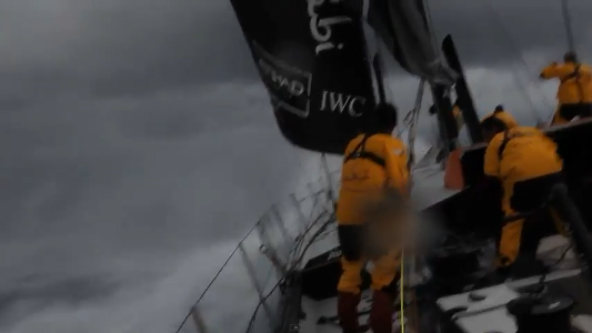 photo of Volvo Ocean Race sailboat in Tropical Storm Alberto