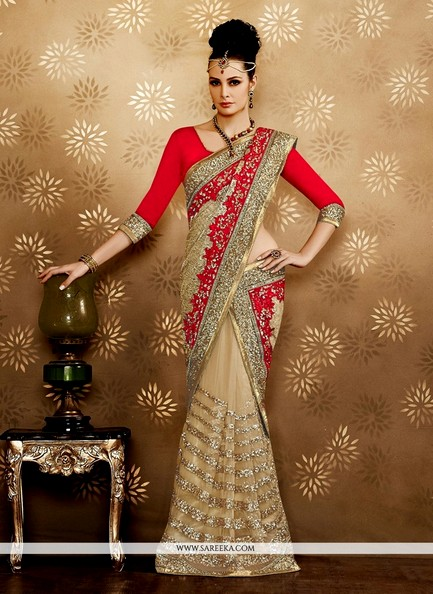 Latest Beige Net Saree For Brides