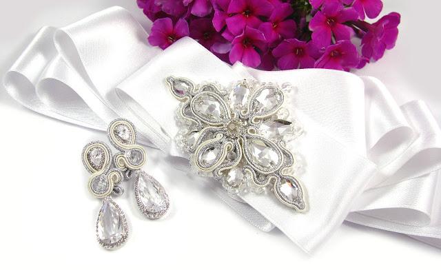 Kolczyki ślubne sutasz ivory novia blanca