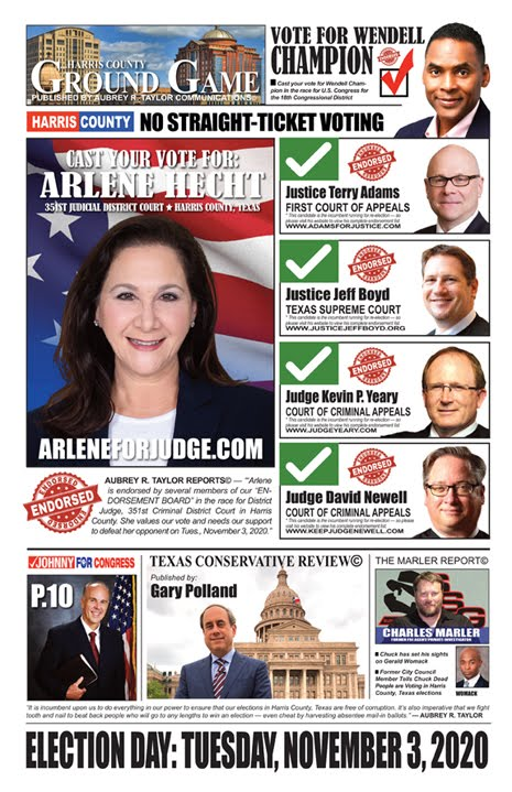 Focus on Harris County from a Conservative Perspective -- Election Day is November 3, 2020
