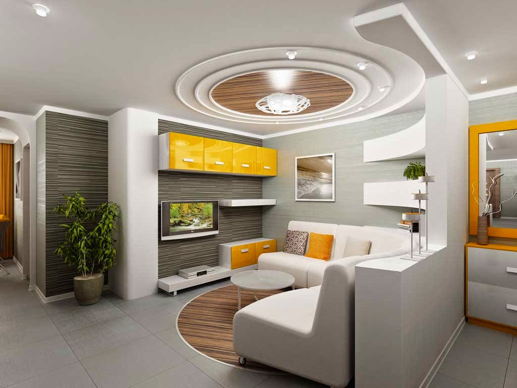 model of the living room ceiling and gypsum fiber circular design