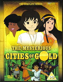 "Image of the box art for the anime series ""The Mysterious Cities of Gold."""