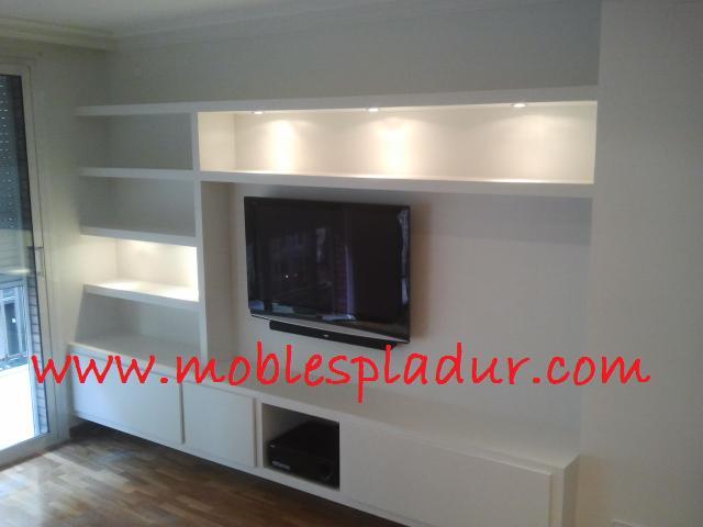 Pladur barcelona muebles de pladur para sal n for Muebles de escayola para el salon