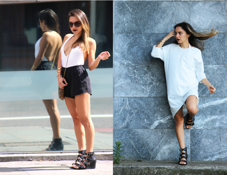 Whitney's Wonderland fashion blogger styles her favourite pieces from The Dressing Room St Albans: American Vintage t shirt dress and silk shorts, and Ash footwear nolita wedges
