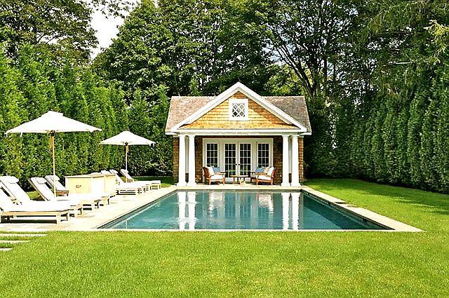 The cape cod ranch renovation border landscape ideas for Garden pool buildings