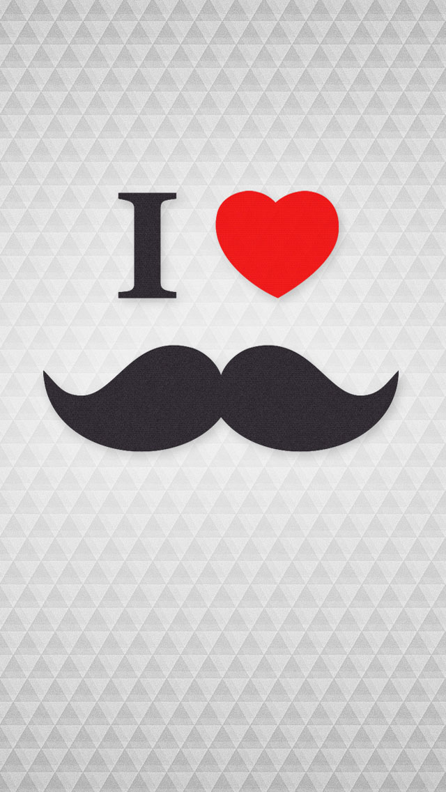 I Love Moustache iPhone 5S Wallpaper