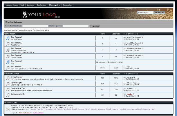 Rock Music Black Blue Phpbb Style Theme Template
