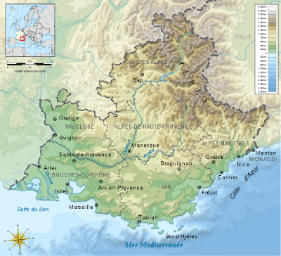 Topographic Provence France map