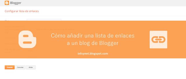 Cómo añadir una lista de enlaces a un blog de Blogger
