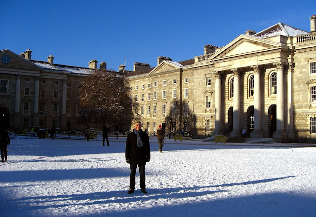 Trinity College on a snowy winter day, Dublin, Ireland