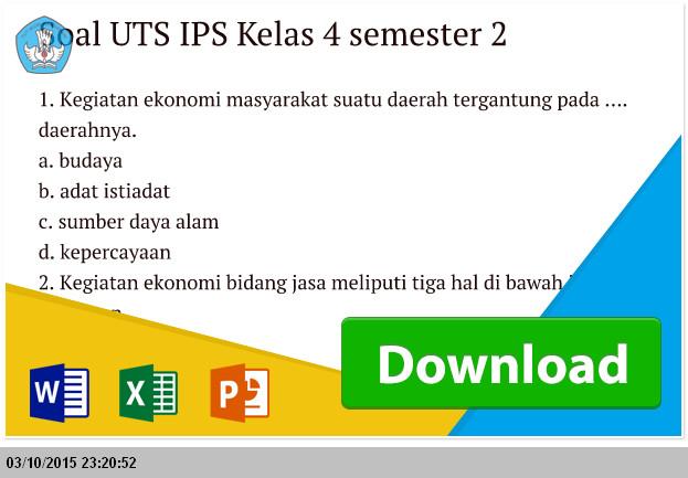 Contoh Soal UTS IPS Kelas 4 semester 2 Terbaru
