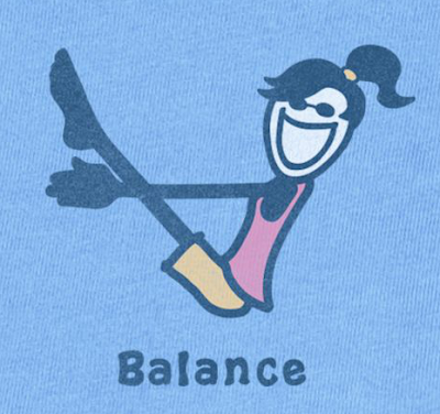 Picture of woman in a yoga pose, with the word Balance - from a T-shirt design