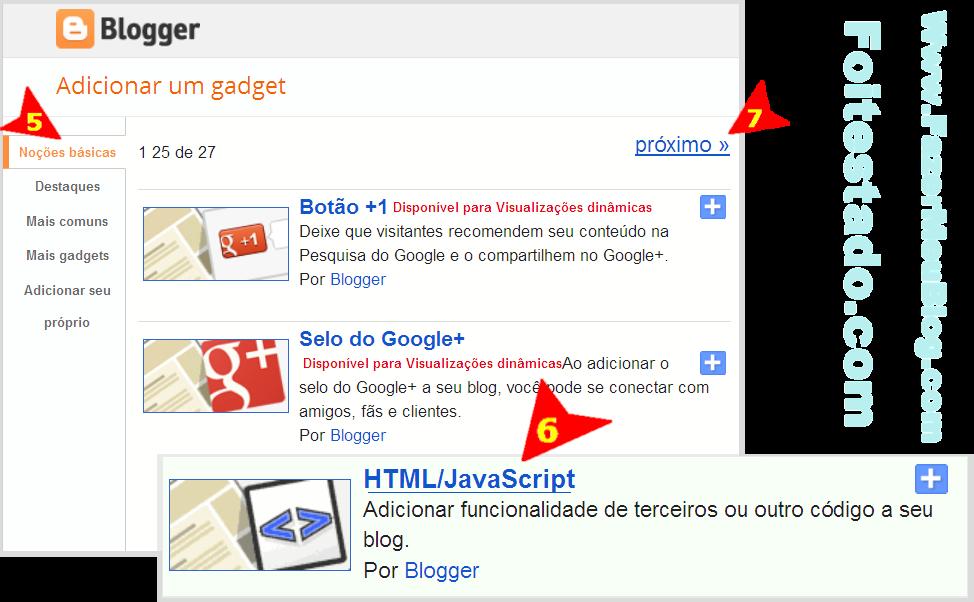 como escolher gadgets para adicionar códigos em blogs do blogger