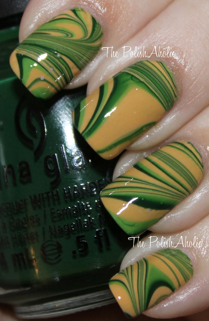 Green And Gold Marble : The polishaholic notd green gold water marble
